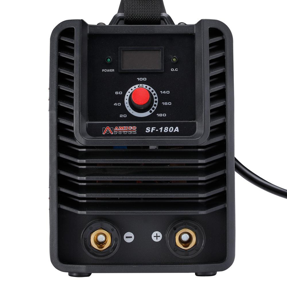 AMICO POWER SF-180A, 180 Amp. Stick Arc MMA DC Welder, 115-Volt and 230-Volt Dual Voltage IGBT Digital Inverter Welding Machine