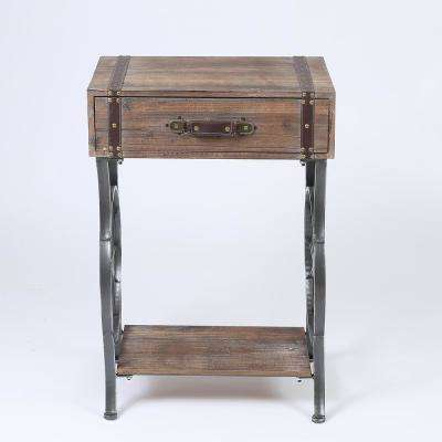 Rustic Natural Single Drawer Accent Table