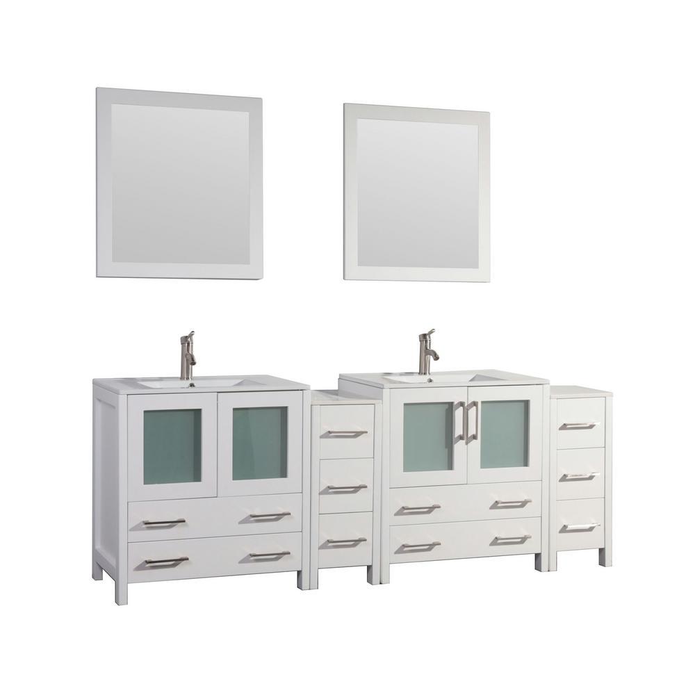 Brescia 84 in. W x 18 in. D x 36 in. H Bath Vanity in White with Vanity Top in White with White Basin and Mirror