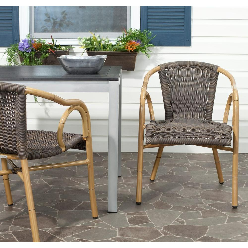 Safavieh Dagny Chocolate Aluminum PE Wicker Patio Armchair (2-Pack) - Safavieh Dagny Chocolate Aluminum PE Wicker Patio Armchair (2-Pack