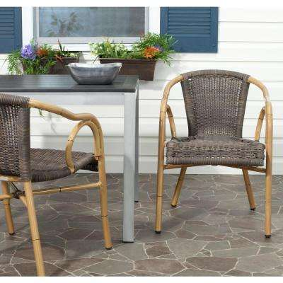 Dagny Chocolate Aluminum PE Wicker Patio Armchair (2-Pack)