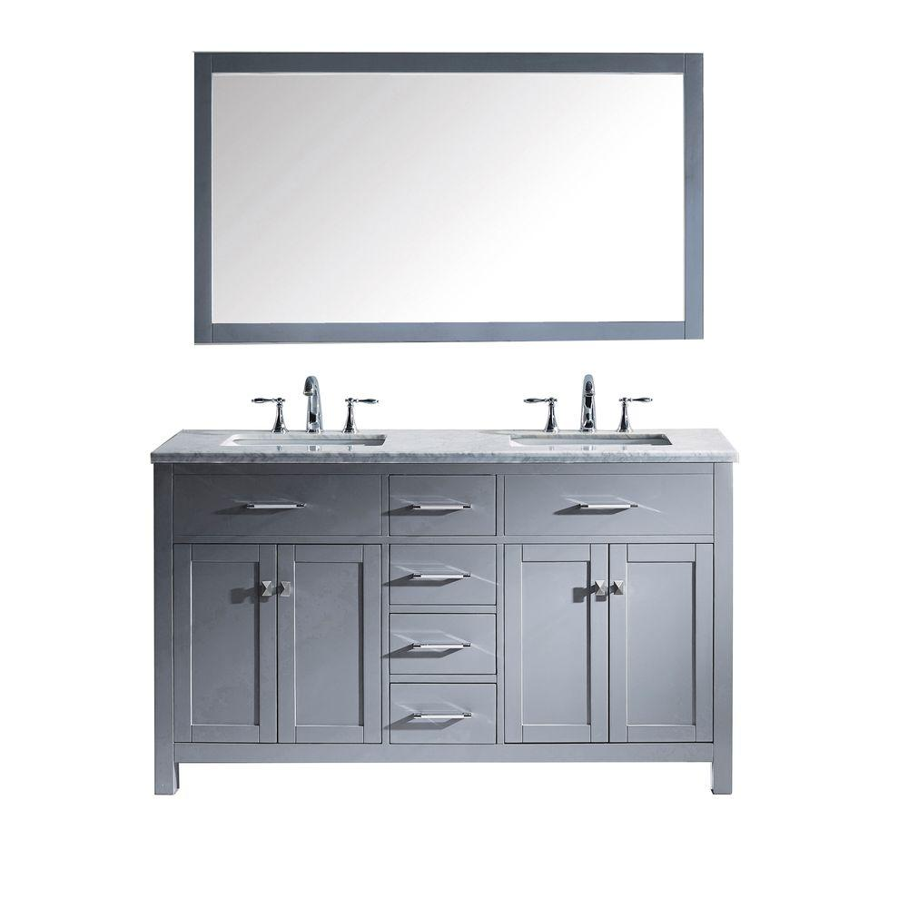 Virtu USA Caroline 60 in. W Bath Vanity in Gray with Marble Vanity ...