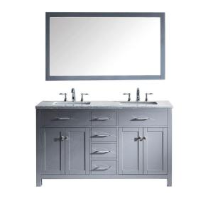 Virtu USA Caroline 60 inch W x 36 inch H Vanity with Marble Vanity Top in Carrara White with White Square Basin and... by Virtu USA