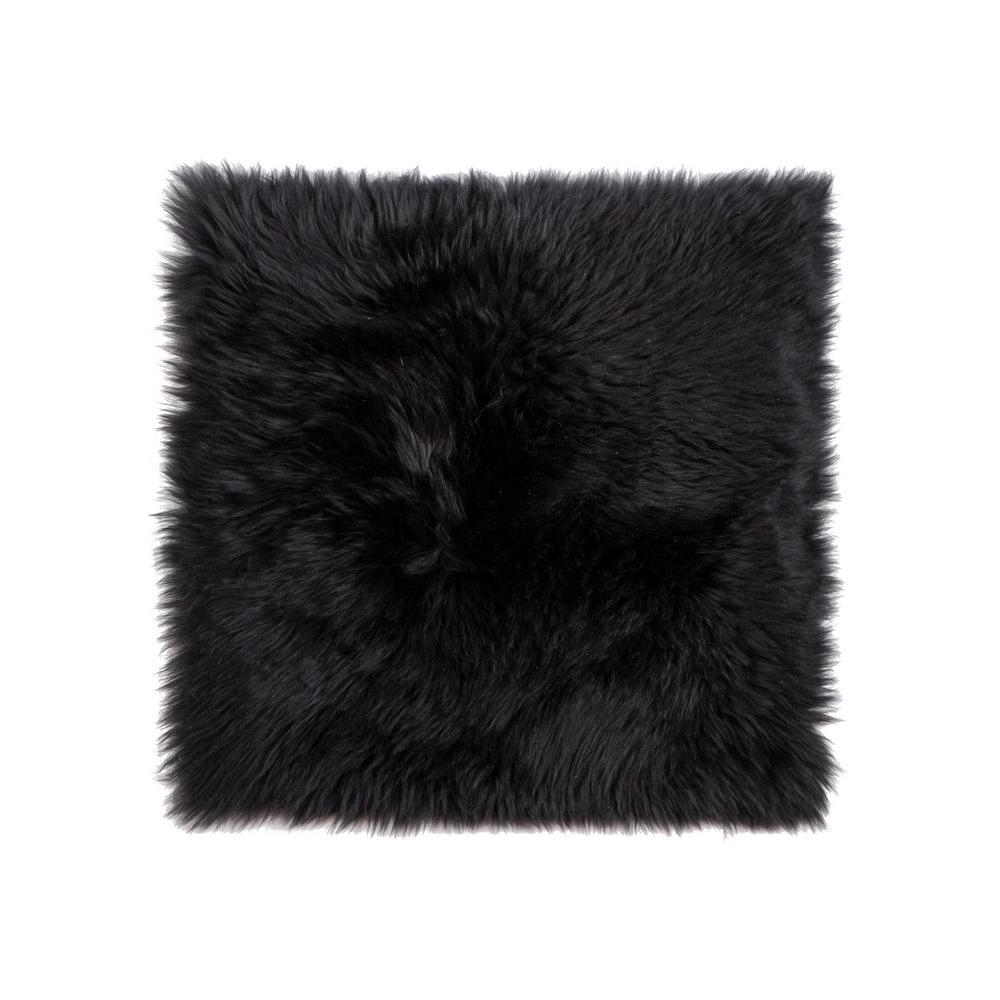 New Zealand Black Sheepskin Chair Pad