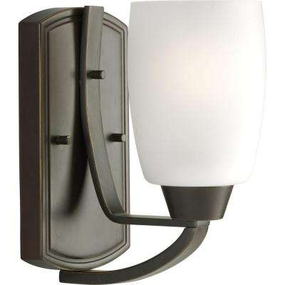 Wisten Collection 1-Light Antique Bronze Wall Sconce with Etched Glass