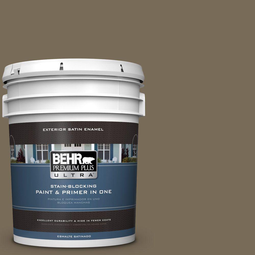 BEHR Premium Plus Ultra 5-gal. #730D-6 Coconut Husk Satin Enamel Exterior Paint