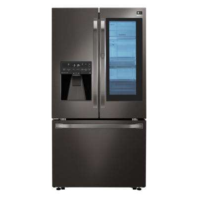 23.5 cu. ft. French Door Smart Refrigerator with InstaView Door-in-Door in Black Stainless Steel, Counter Depth