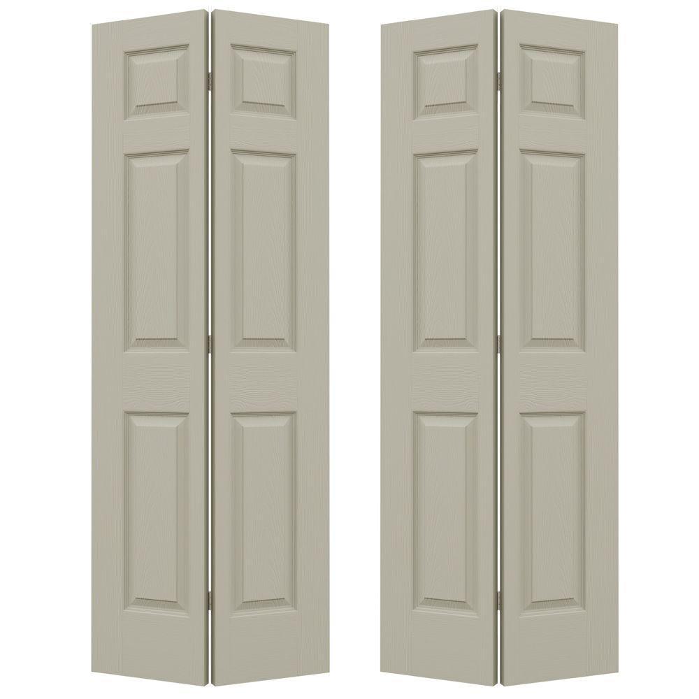 72 in. x 80 in. Colonist Desert Sand Painted Textured Molded Composite MDF Closet Bi-fold Door
