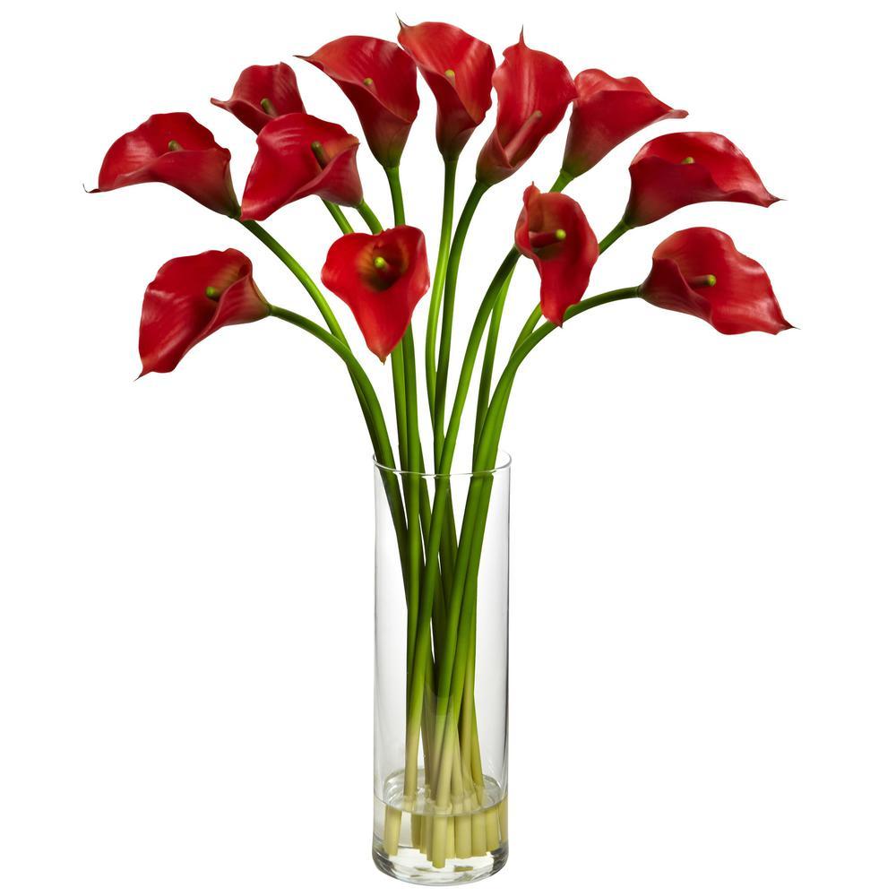 Nearly Natural Indoor Mini Calla Lily Silk Flower Arrangement