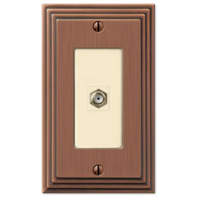 Tiered 1 Gang Coax Metal Wall Plate - Antique Copper