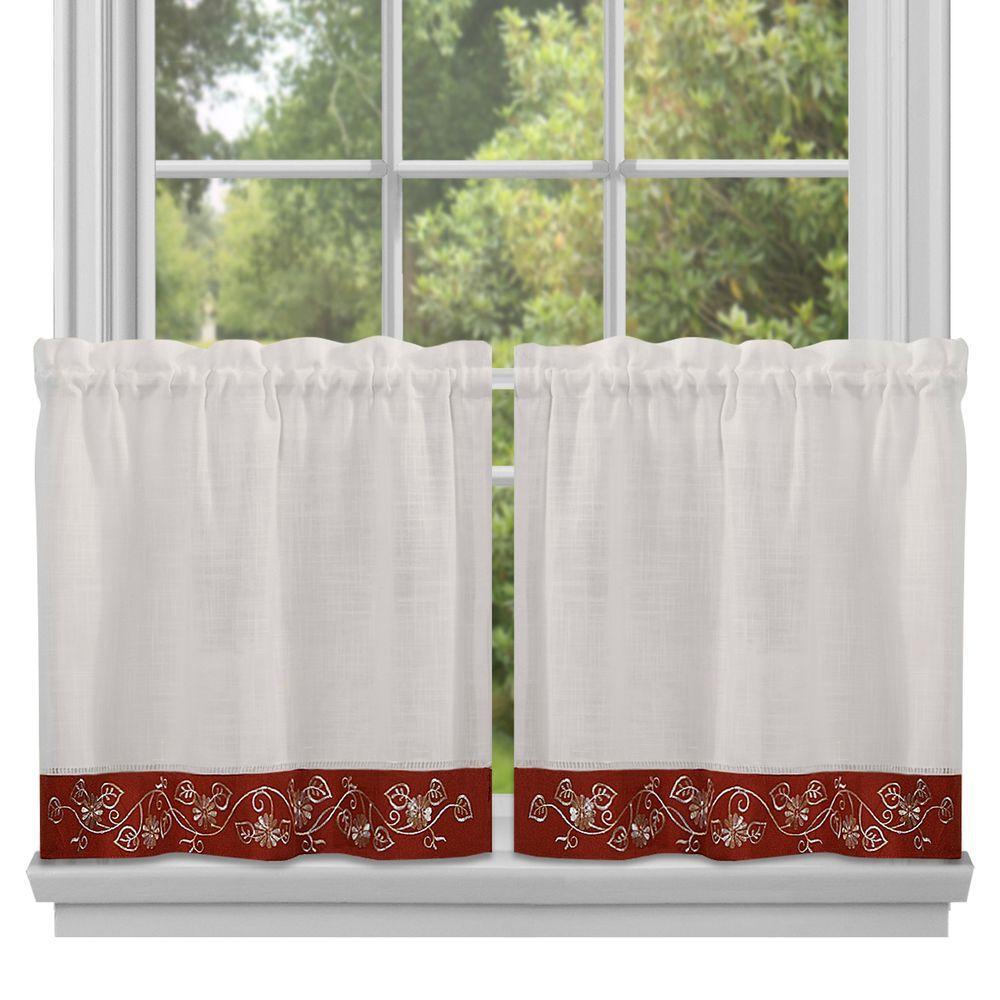 Semi-Opaque Burgundy Oakwood Tier Curtain - 24 in. W x 58 in. L