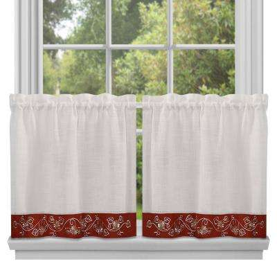 Semi-Opaque Oakwood Burgundy Polyester Tier Curtain - 58 in. W x 36 in. L