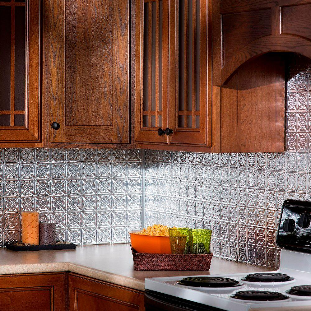 Fasade 24 in x 18 in traditional 6 pvc decorative for Classic backsplash