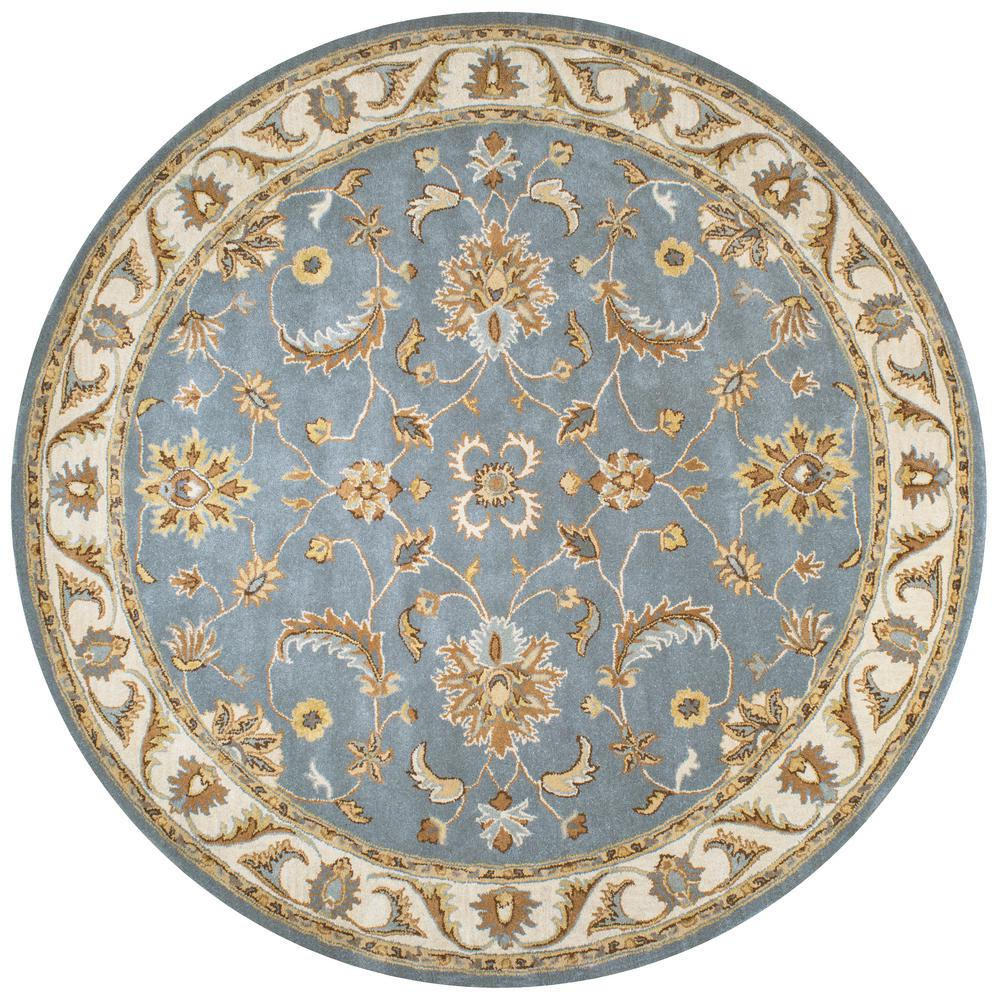 8 Ft Round Area Rug: Rizzy Home Volare Grey Border Hand Tufted Wool 8 Ft. X 8