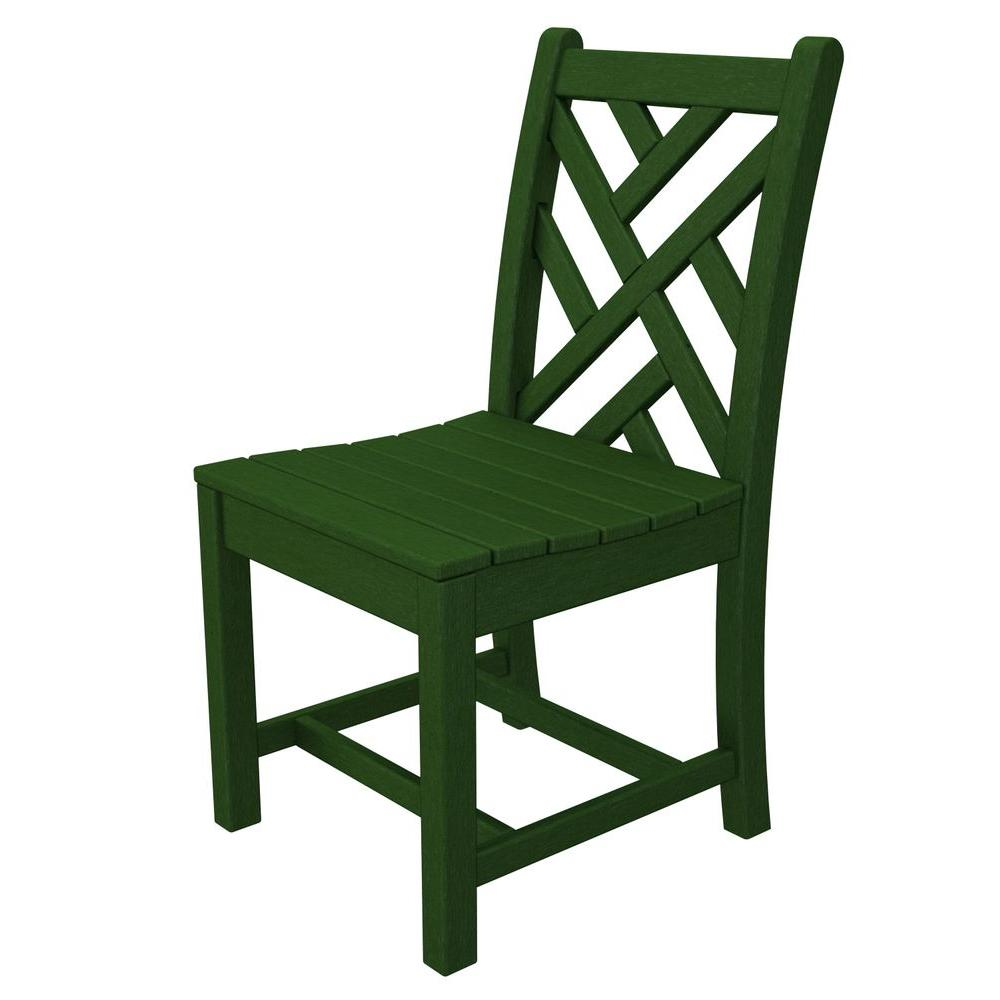 Chippendale Green All-Weather Plastic Outdoor Dining Side Chair