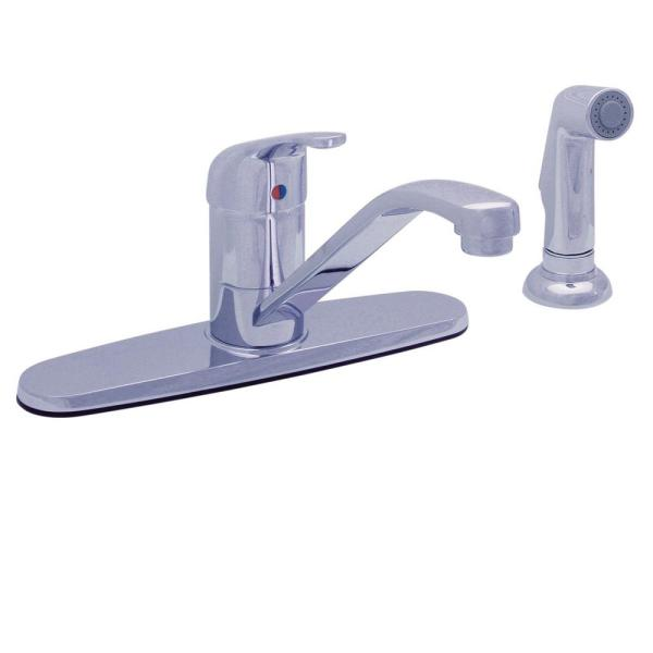 Bellingham Single Handle Kitchen Faucet with Deck Mounted Side Spray in Polished Chrome