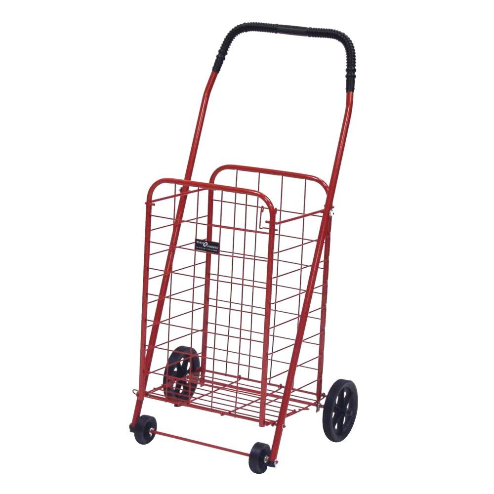 Easy Wheels Mini-A Shopping Cart in Red The Easy Wheels Mini-A Shopping Cart has been the industry's premier cart with industrial strength for home use. When lying down, with the cart folded, the highest measurement is the wheels with a 5.75 in. Dia giving an incredible amount of convenience in a compact size. This particular model comes with hardened plastic and rubber-like tread.