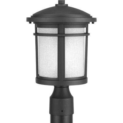 Wish Collection 1-Light Textured Black LED Outdoor Post Lantern