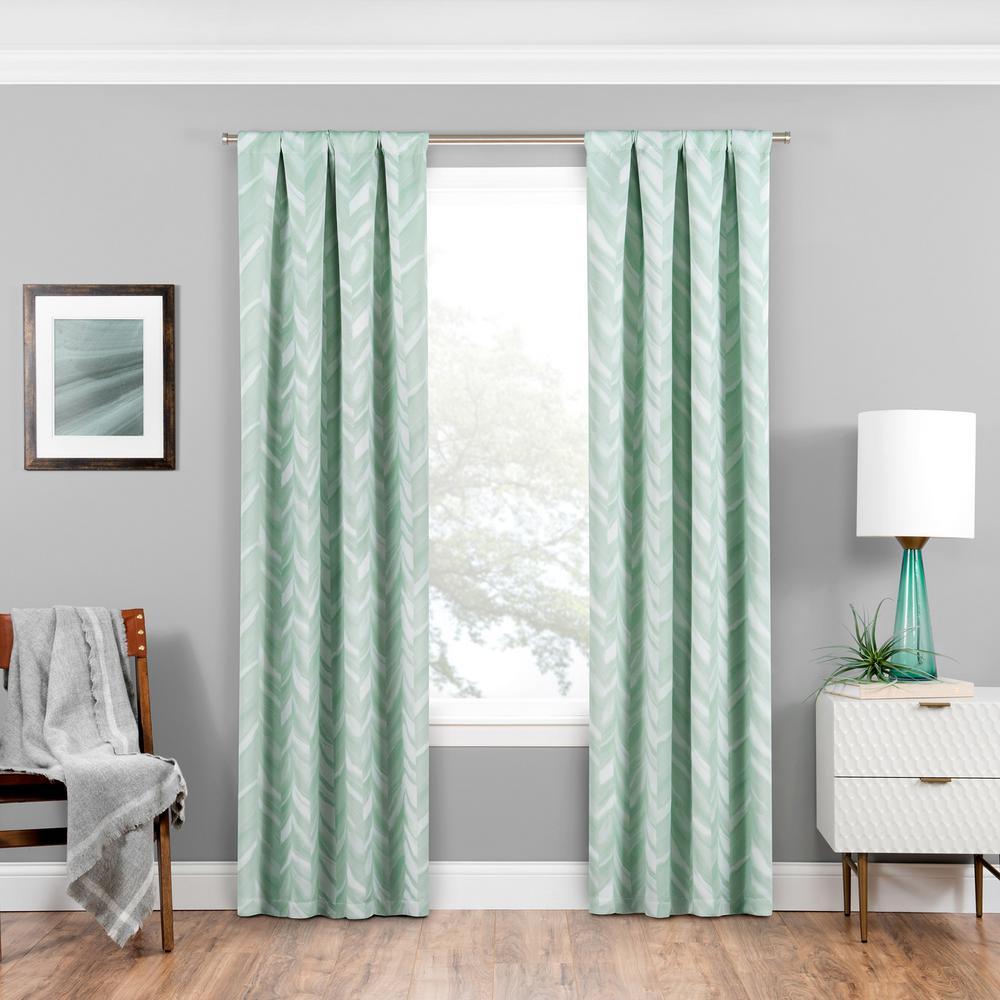 Eclipse Haley Blackout Window Curtain Panel in Mint - 37 in. W x 95 in. L