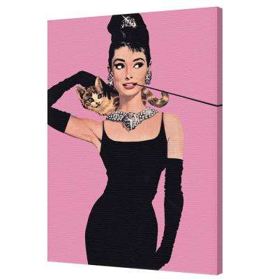"24 in. x 36 in. ""Audrey Hepburn - Pink"" Printed Canvas Wall Art"