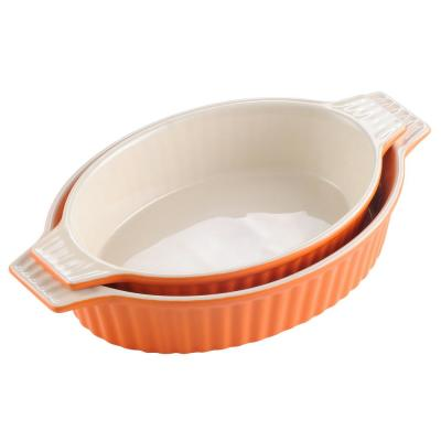 2-Piece Orange Oval Porcelain Bakeware Set 12.75 in. and 14.5 in. Baking Pans
