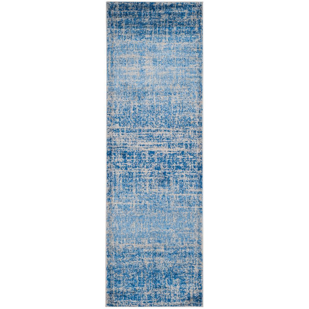 Adirondack Blue/Silver 3 ft. x 18 ft. Runner Rug