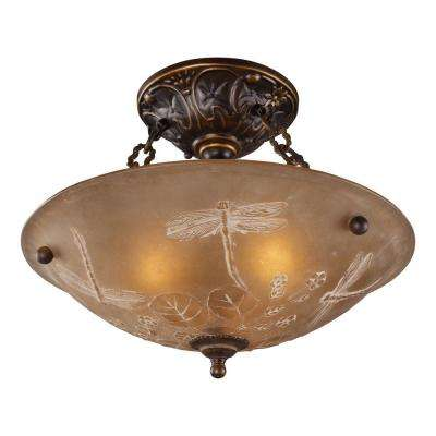 3-Light Golden Bronze Ceiling Semi-Flush Mount Light