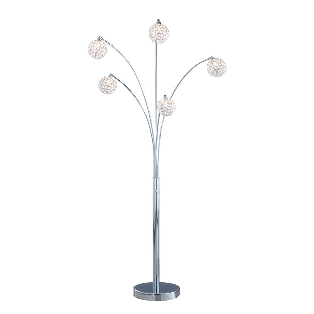 ARTIVA Quan 84 in. 5-Arch Crystal Ball LED Chrome finished Floor Lamp with Dimmer