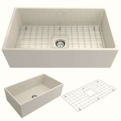 Contempo Farmhouse Apron Front Fireclay 33 in. Single Bowl Kitchen Sink with Bottom Grid and Strainer in Biscuit