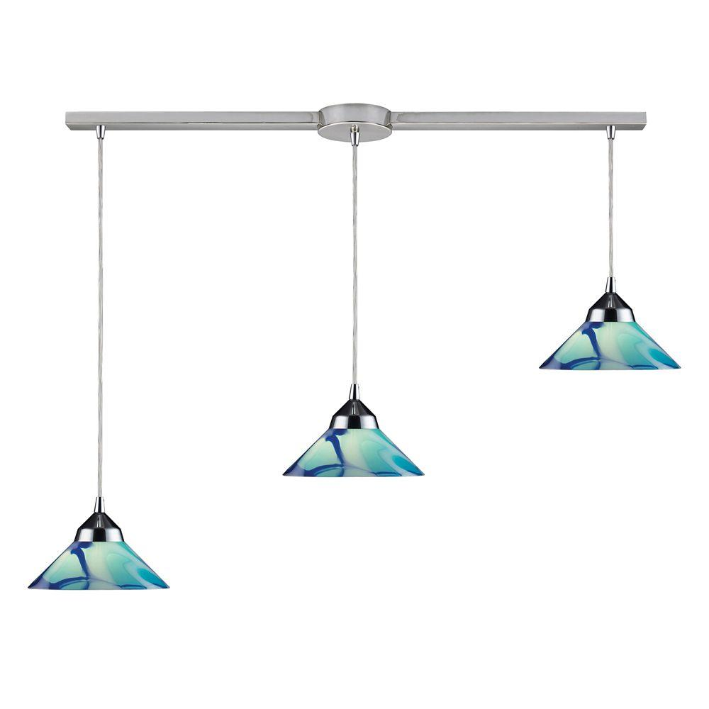 Refraction 3-Light Polished Chrome Ceiling Mount Pendant