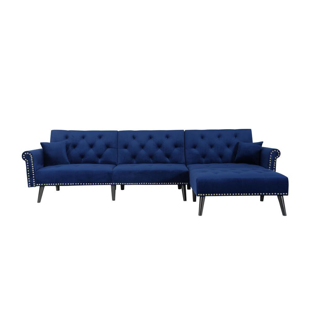 115 in. Blue Velvet 4-Seater Full Sleeper Sectional Sofa Bed with Tapered Legs