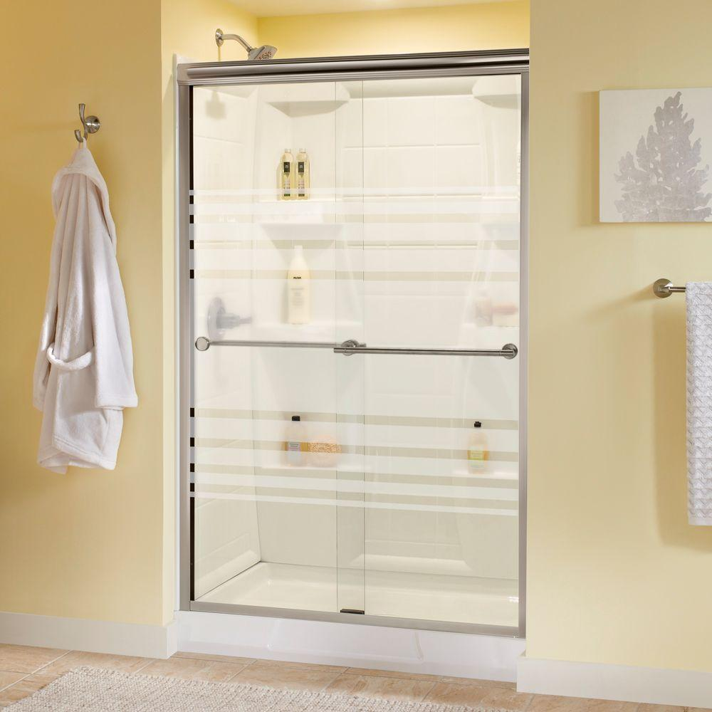 Delta Panache 48 in. x 70 in. Semi-Frameless Sliding Shower Door in Brushed Nickel with Transition Glass