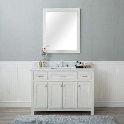 Norwalk 48 in. W x 22 in. D Vanity in Linen White with Marble Vanity Top in White with White Basin and Mirror
