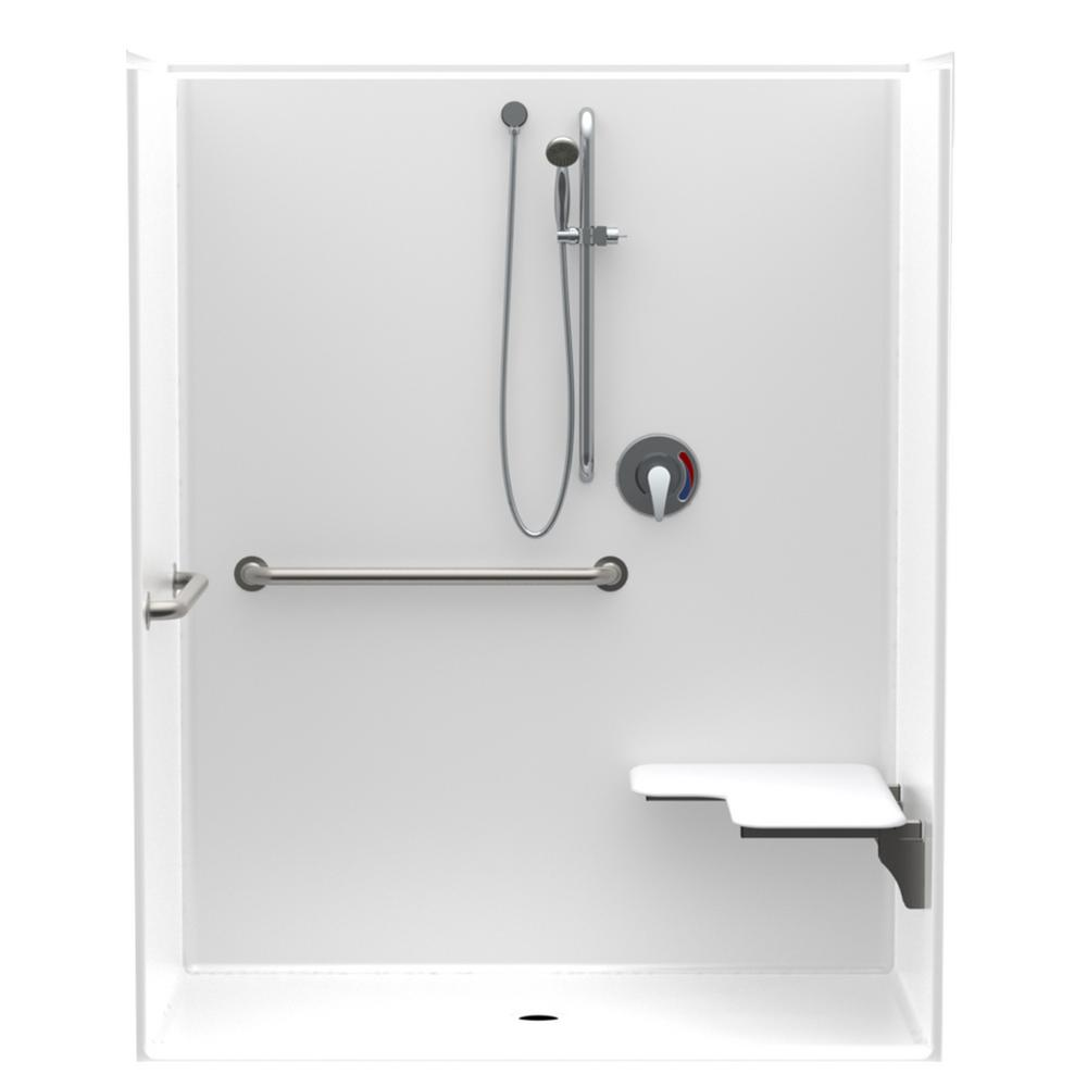Aquatic Accessible AcrylX 60 In. X 34 In. X 75.6 In. 1-Piece ADA Shower Stall With Right Seat