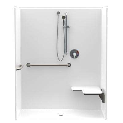 Accessible AcrylX 60 in. x 34 in. x 75.6 in. 1-Piece ADA Shower Stall with Right Seat and Grab Bars in White