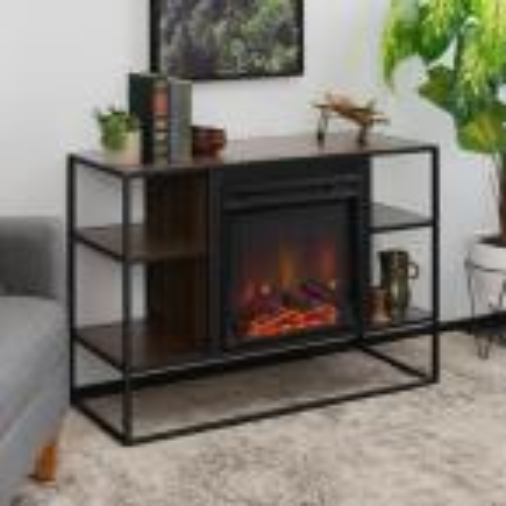 40 in. Dark Walnut Metal and Wood Open-Shelf Fireplace Console