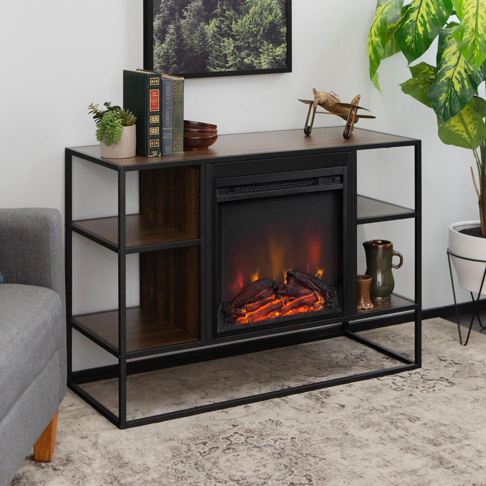 Walker Edison Furniture Company 40 in. Dark Walnut Metal and Wood