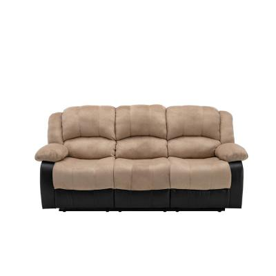 Aiden 84 in. Beige Microfiber 3-Seater Lawson Reclining Sofa with Round Arms