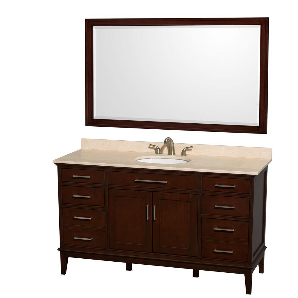 Wyndham Collection Hatton 60 in. Vanity in Dark Chestnut with Marble Vanity Top in Ivory, Sink and 56 in. Mirror