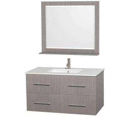 Centra 42 in. Vanity in Gray Oak with Man-Made Stone Vanity Top in White, Undermount Square Sink and 36 in. Mirror