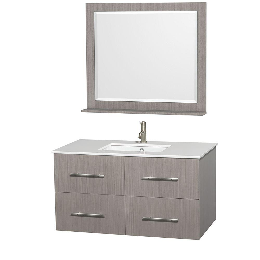 Centra 42 in. Vanity in Gray Oak with Man-Made Stone Vanity