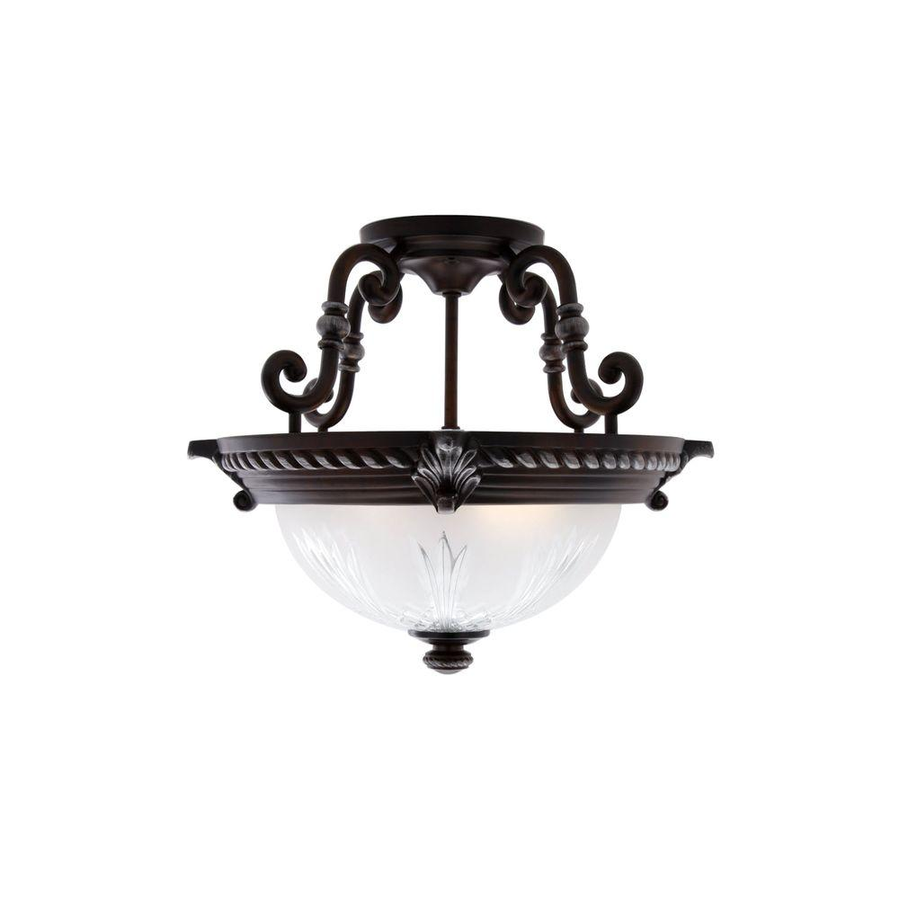 Hampton Bay Bercello Estates 15 In 2 Light Volterra Bronze Semi Flush Mount With Etched Glass Shade 08060 The Home Depot