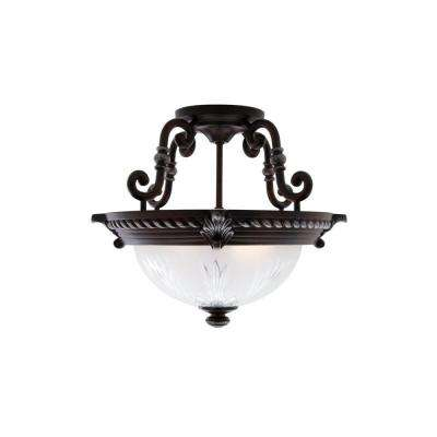 Bercello Estates 15 in. 2-Light Volterra Bronze Semi-Flushmount with Etched Glass Shade