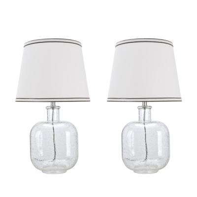 21-1/2 in. Clear Seedy Glass Table Lamp with Empire Shaped Lamp Shade in Off White (2-Pack)