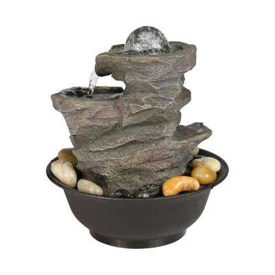 10 in. Waterfall Fountain with LED Lights and Ball