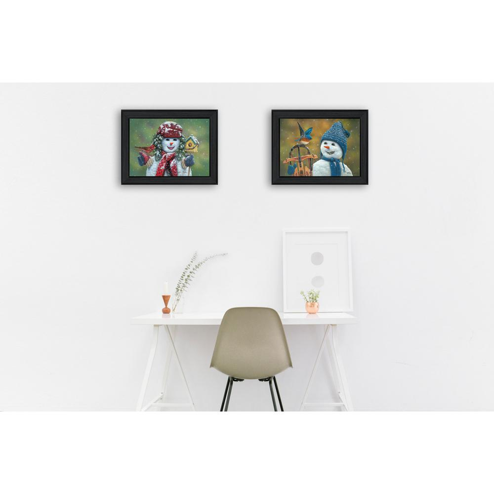 10 in x 28 in snow friends by kim norlien printed framed wall