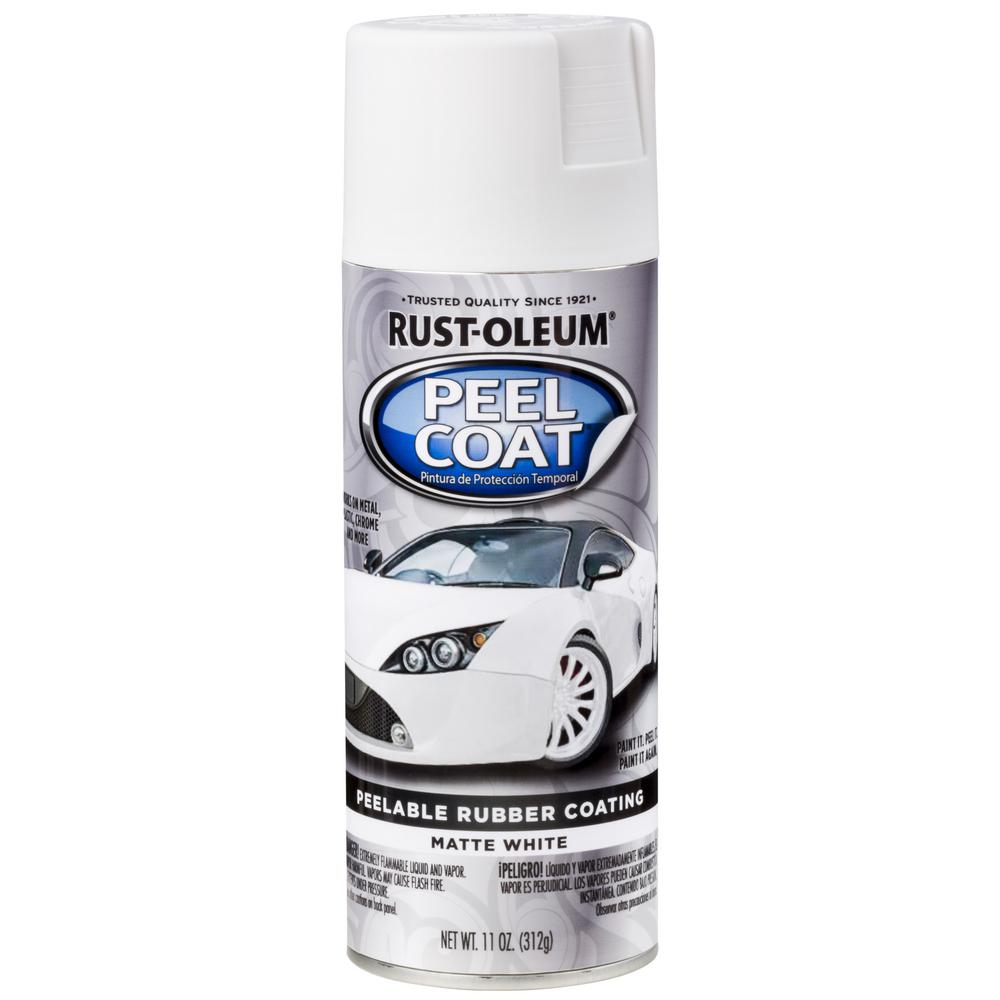 Rust-Oleum Automotive 11 oz. Peel Coat Matte White Rubber Coating Spray Paint