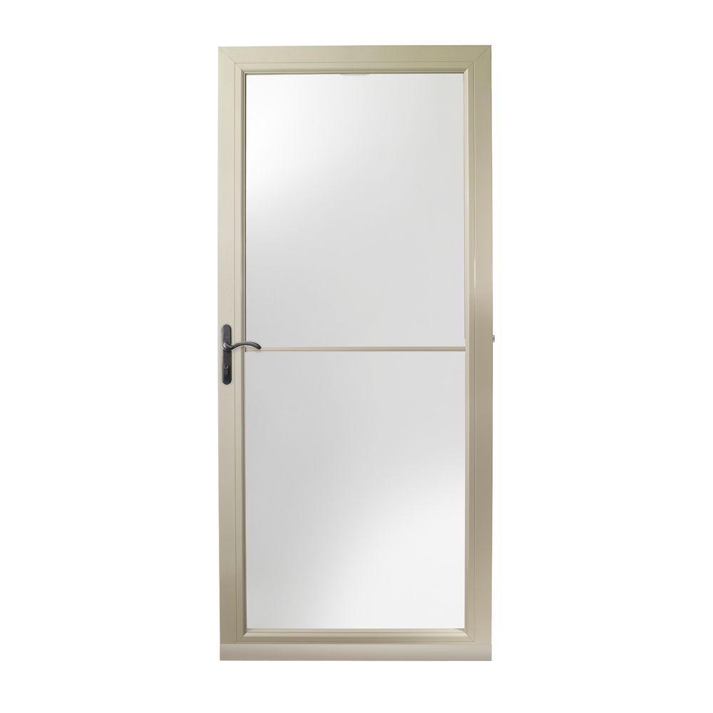 36 in. x 80 in. 3000 Series Sandtone Left-Hand Self-Storing Easy Install Storm Door with Oil-Rubbed Bronze Hardware