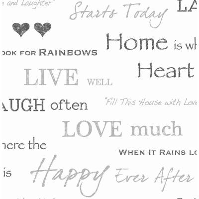 56.4 sq. ft. Happy Home Grey Text Wallpaper