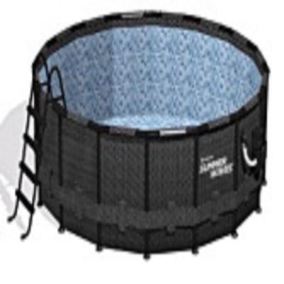 Black Basketweave 15 ft. Round 48 in. D Elite Metal Frame Pool Package with Sand Filter Pump